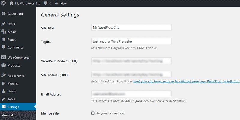 Check WordPress Settings