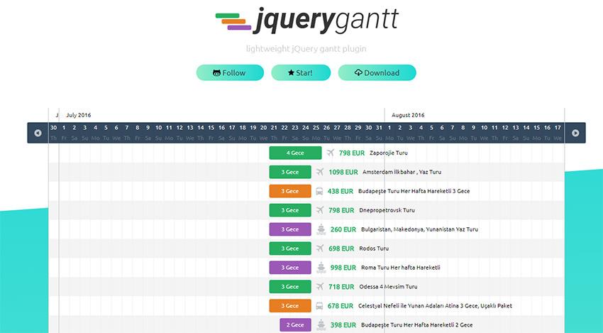 jquery Gantt plugin