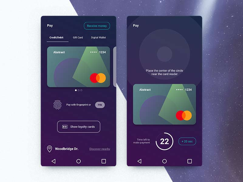 this android app design offers a new take on primary action buttons positioning the receive money button on the top right