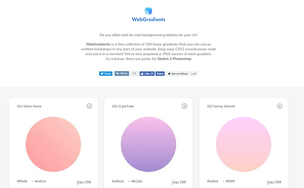 WebGradients homepage