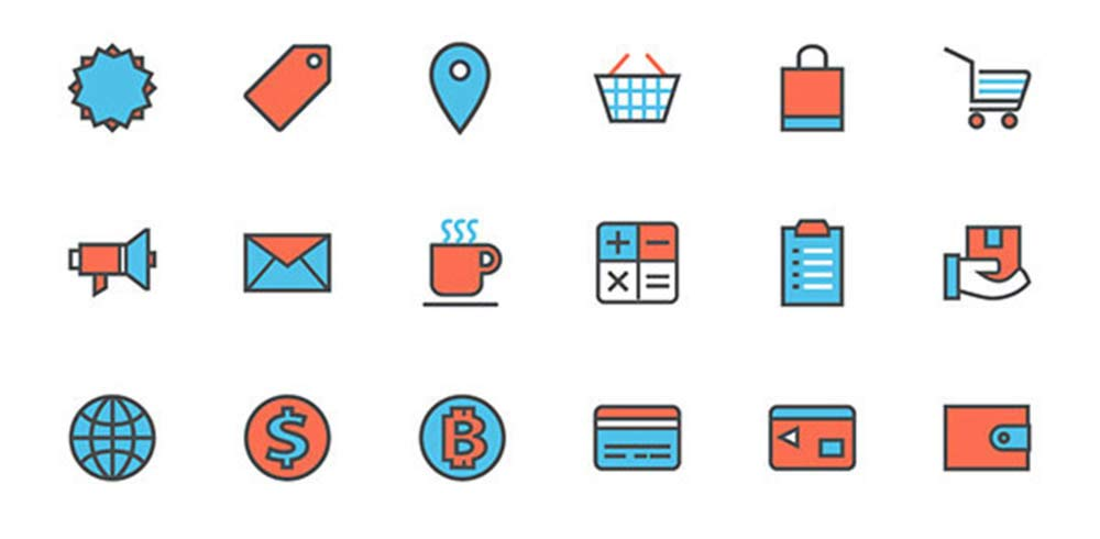 Flat Vector Shopping Icons
