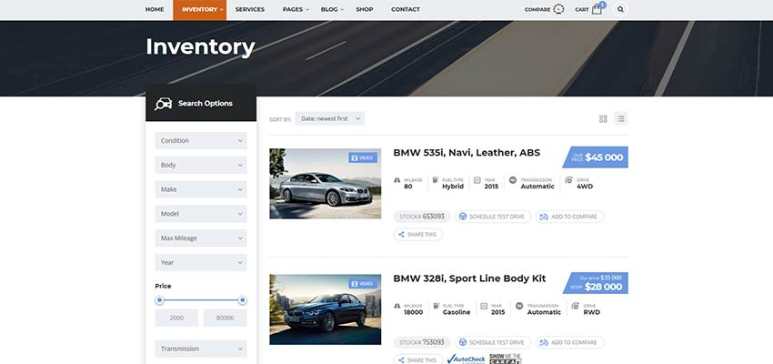 Motors vehicle inventory page