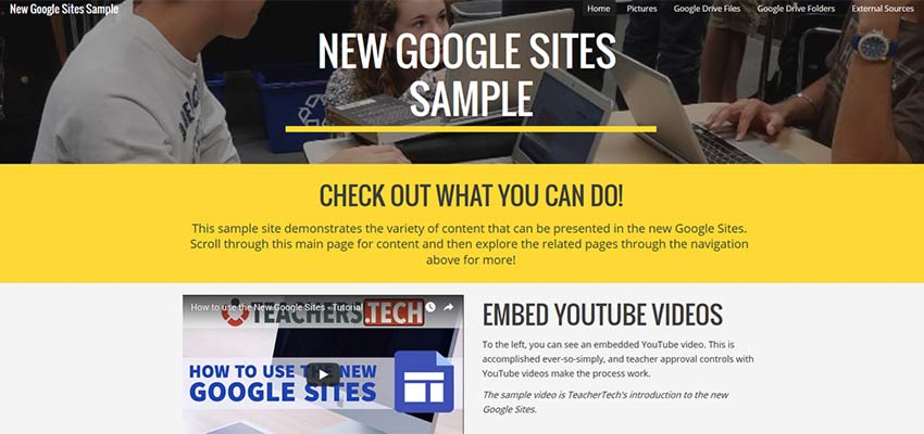 Google Sites example