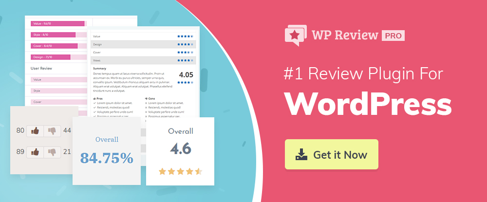 WP Review Pro WordPress Plugins 2018