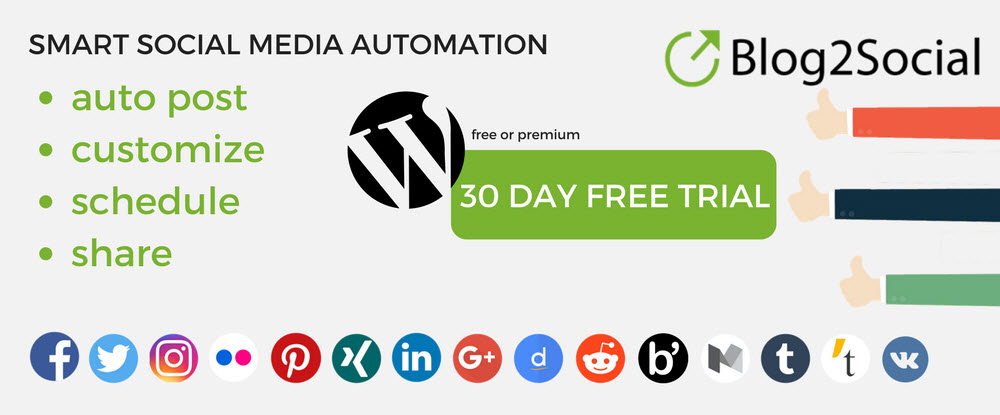 Blog2Social WordPress Plugins 2018