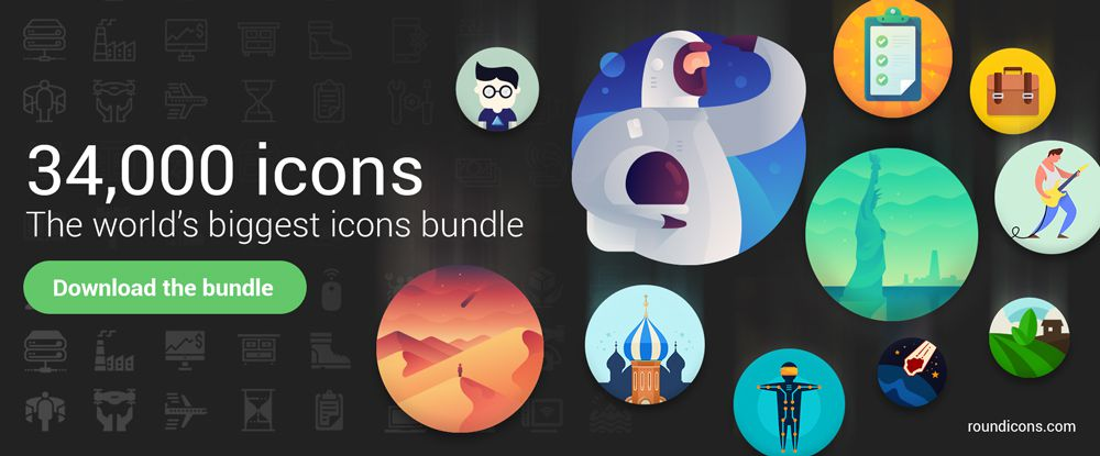 34,000 Icons Full Bundle by Roundicons.com