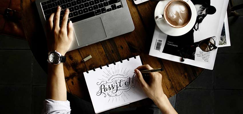 Graphic designer at work.