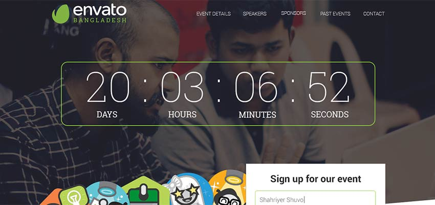 Meetup Event Landing Page Free PSD