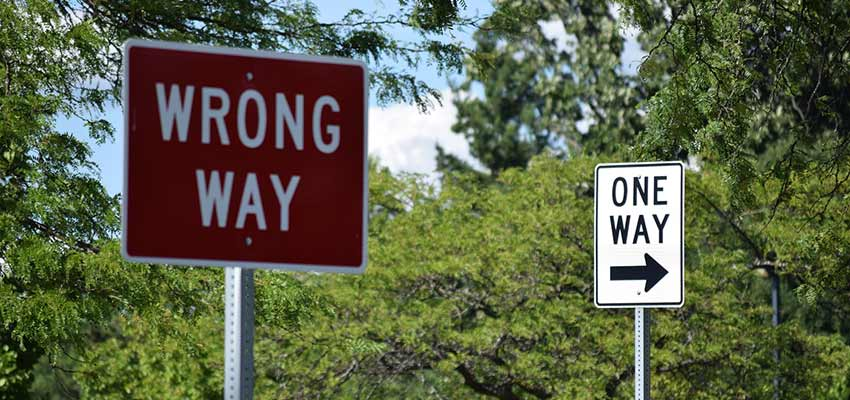 """Wrong Way"" and ""One Way"" road signs"