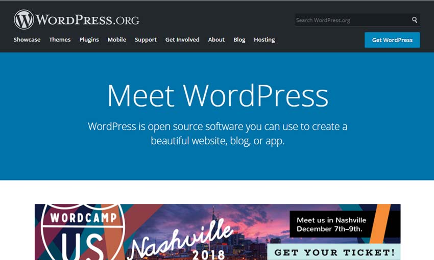 WordPress.org's header.