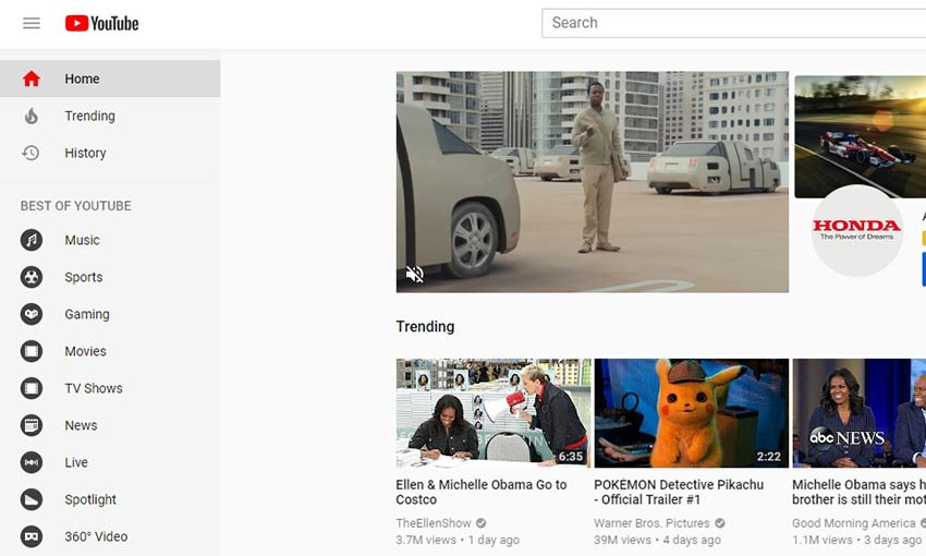 YouTube's sidebar.