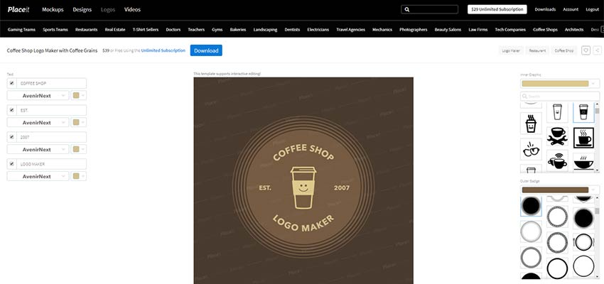 A Placeit logo concept for a coffee shop.