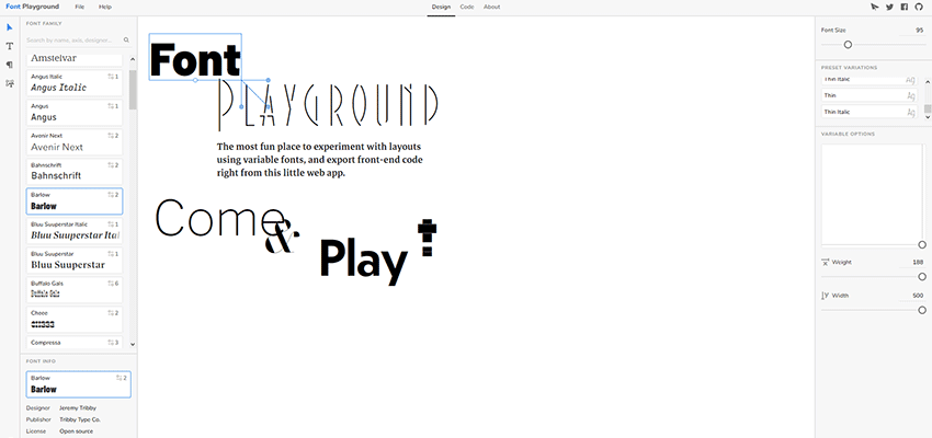 Customizing variable fonts with Font Playground.