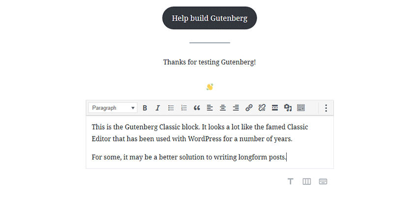 The Classic block in Gutenberg.
