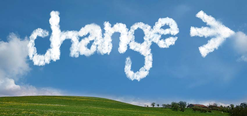 "Sky with the word ""CHANGE"" written in clouds."