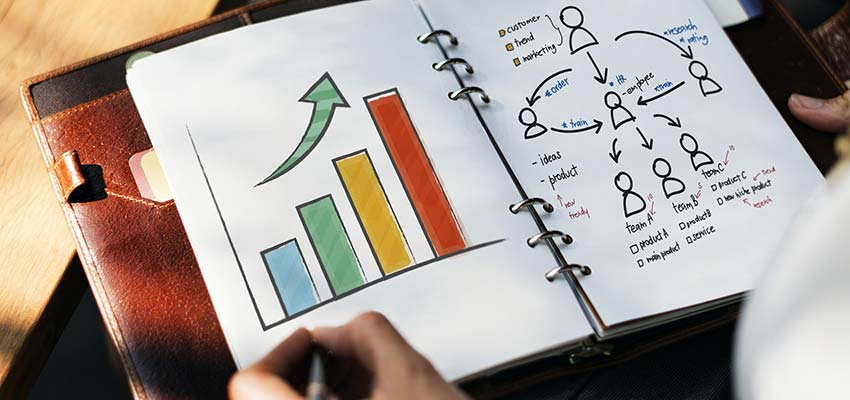 Business charts in a notebook.