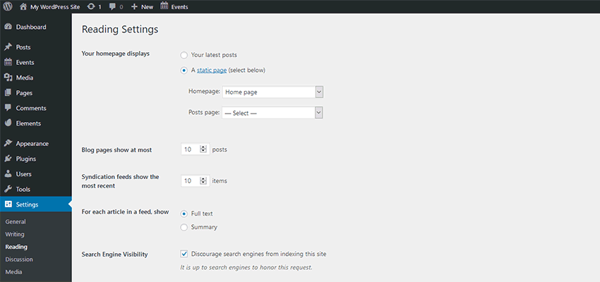 The WordPress Reading Settings page.