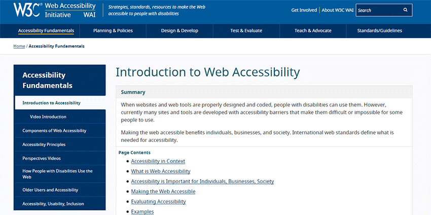 W3C Introduction to Web Accessibility