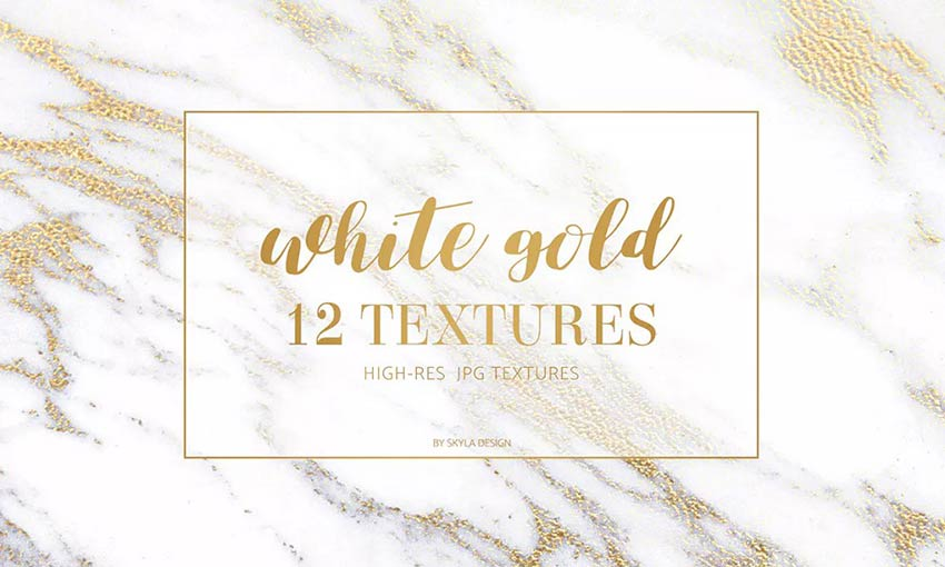 Example of 12 White Gold Marble Textures