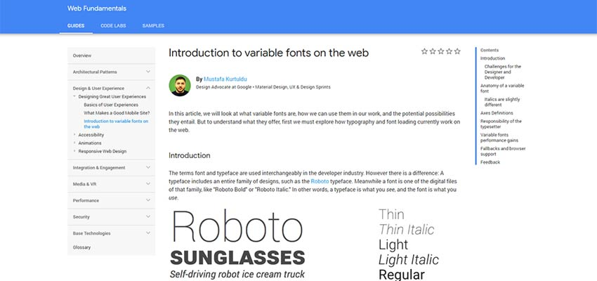 Google's 'Introduction to variable fonts on the web'.