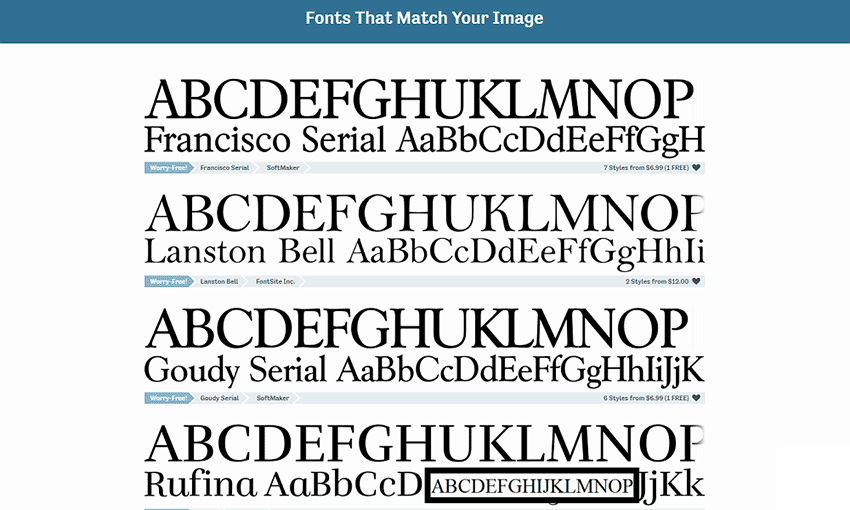 Example of Fontspring Matcherator