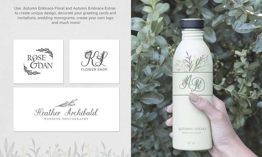 Example of Autumn Embrace Floral Font by anmark