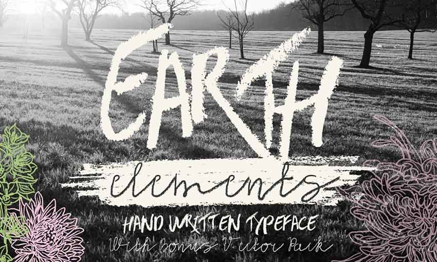 Example of Earth Elements Typeface by Anna Ivanir