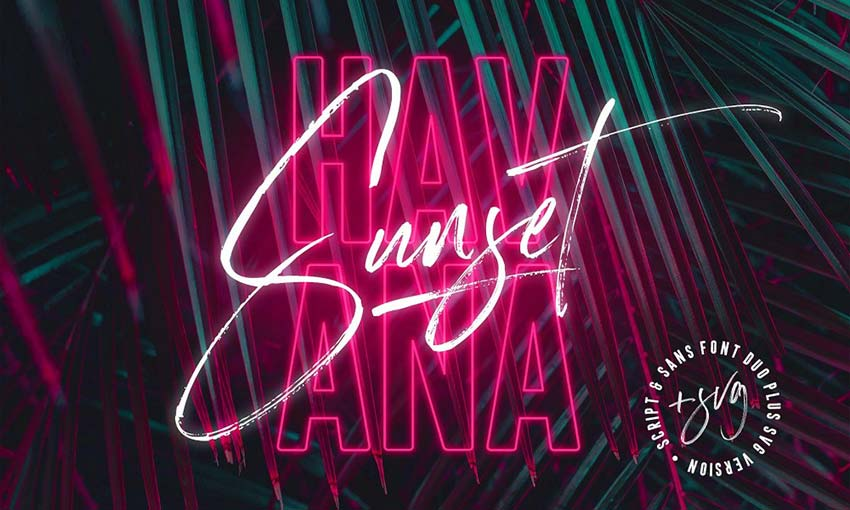 Example of Havana Sunset Font Duo by Sam Parrett