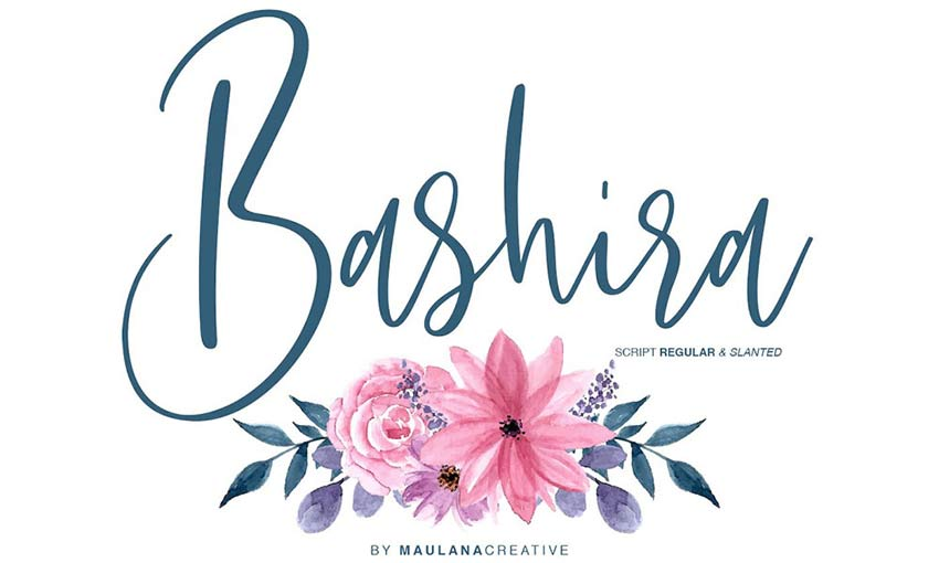 Example of Bashira Brush Script by Maulana Creative