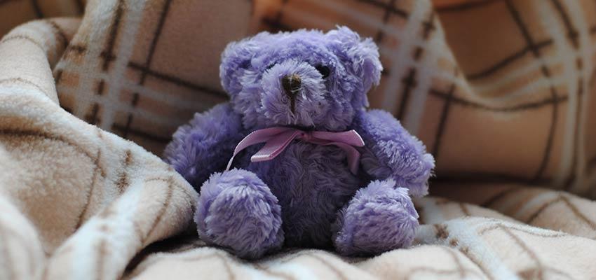 Un oso de peluche sentado en un sofá.