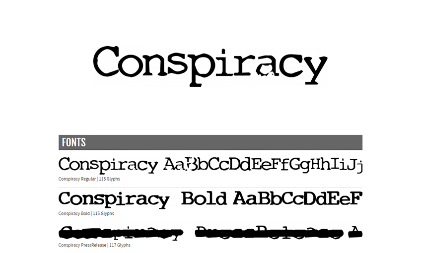 Example of Conspiracy by Nerfect Type Laboratories