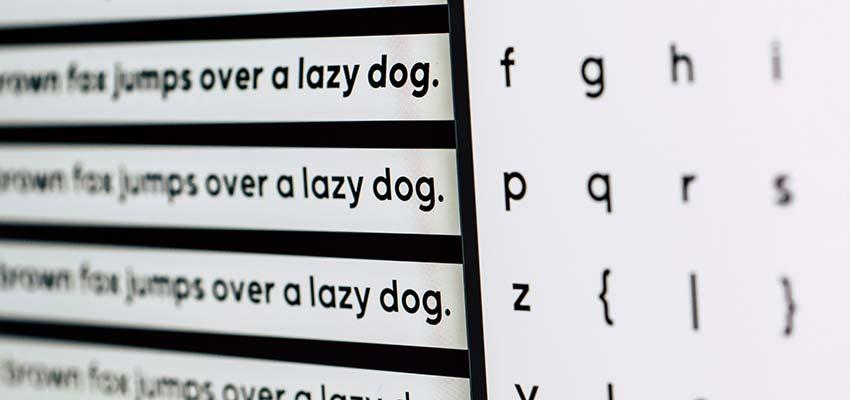 A font style chart.