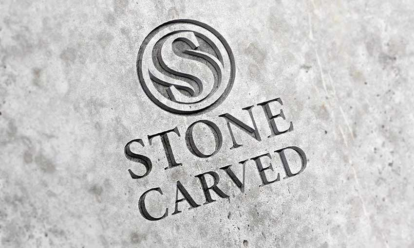 Example of Carved Stone Logo Mockup PSD