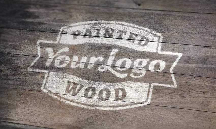 Example of Painted Wood Logo MockUp