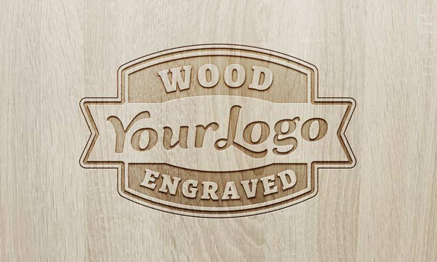 Example of Wood Engraved Logo MockUp #2