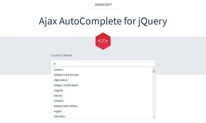 Example of Ajax AutoComplete for jQuery