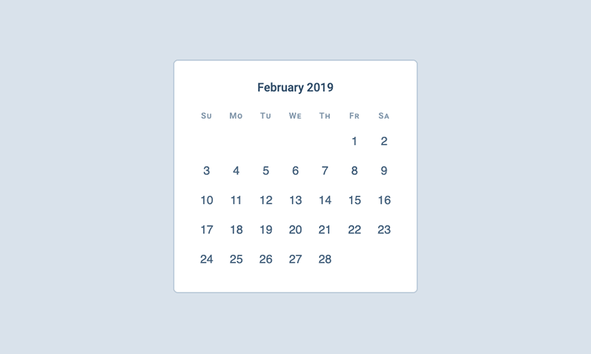Example of How to Build a Calendar with CSS Grid