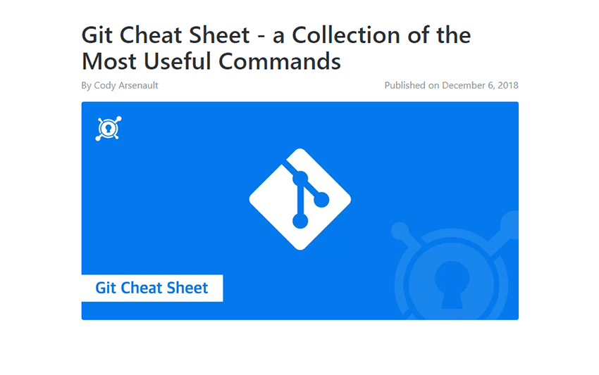 Example from Git Cheat Sheet - a Collection of the Most Useful Commands