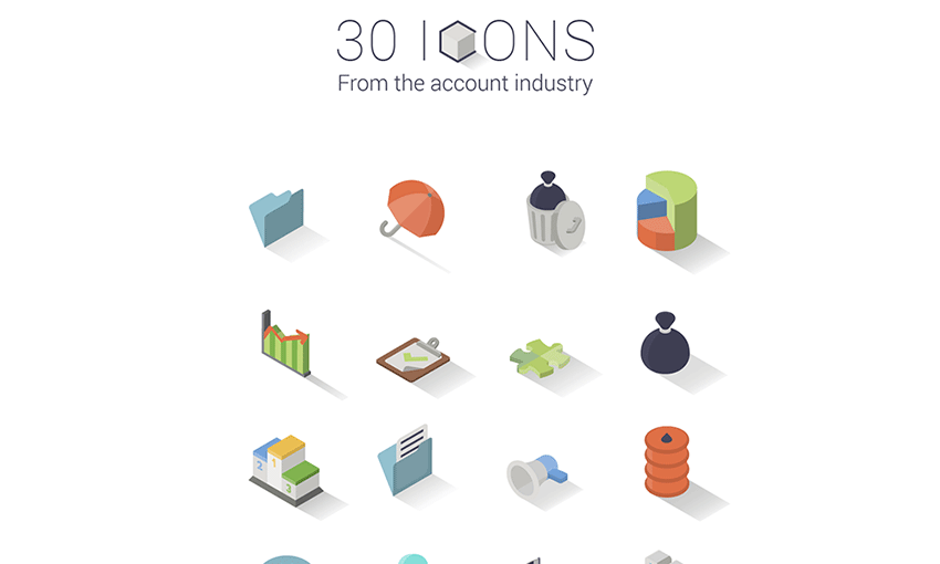 Example of 30 Isometric Icon Set