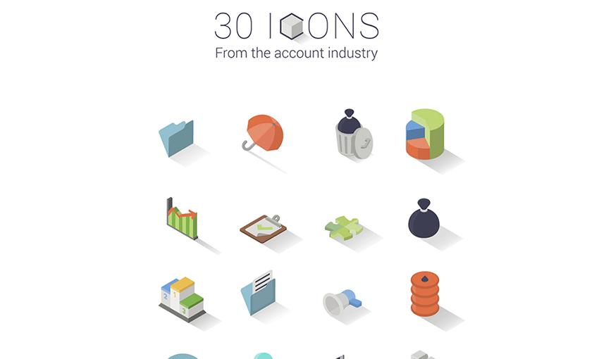 Example of 30 Isometric Icon Set