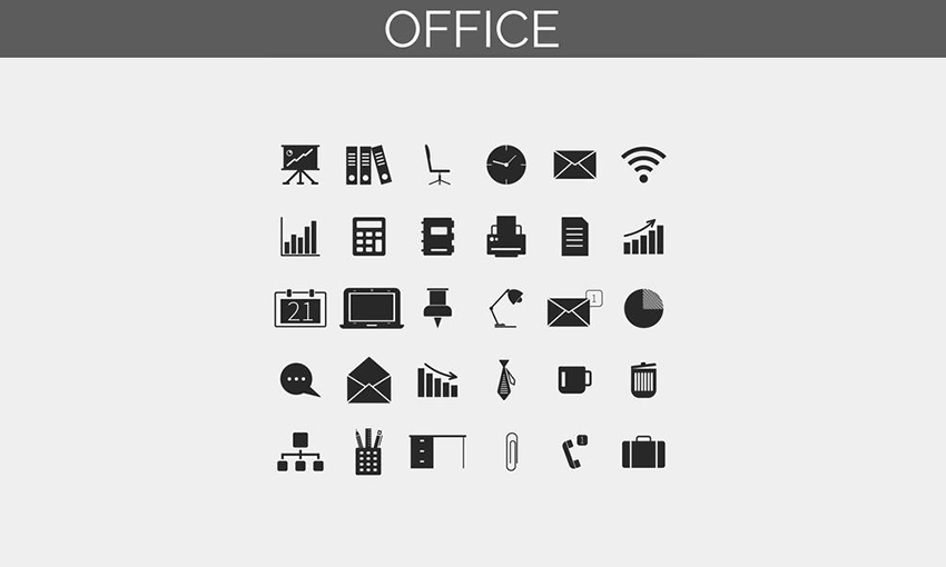 Example of Business and office icons set