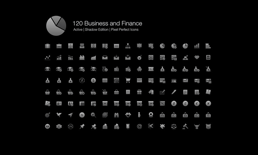 Example of 120 Business and Finance Pixel Perfect Icons