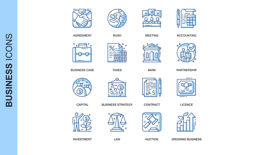 Example of Thin Line Business Icons