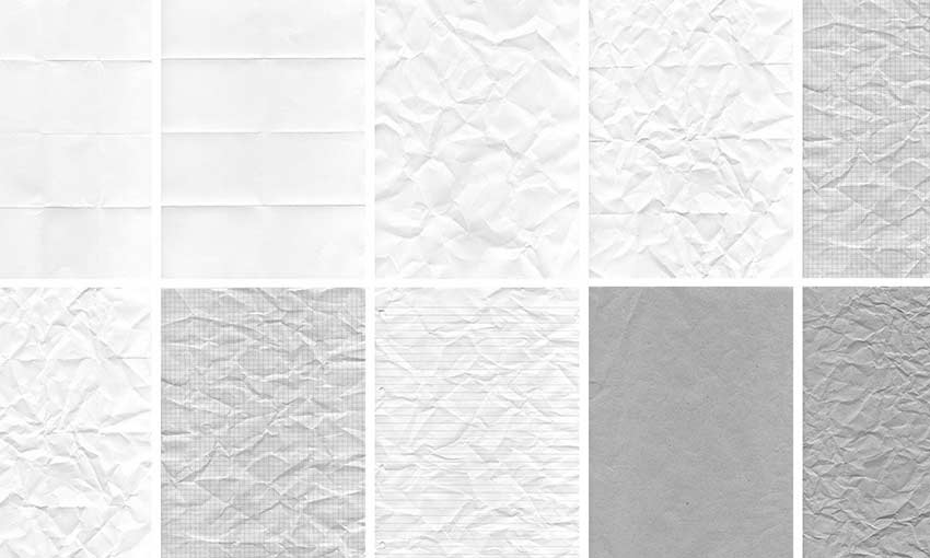 Example of Crumpled Paper Textures Set