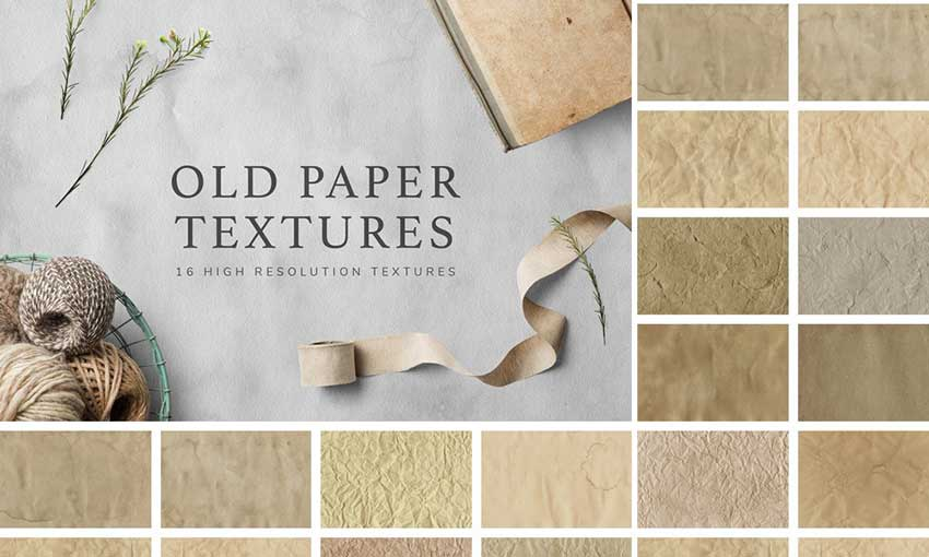 Example of Vintage Paper Textures Set
