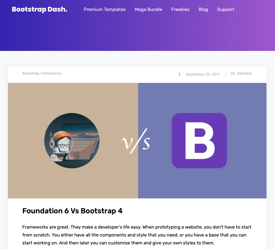 Foundation or Bootstrap - Dash