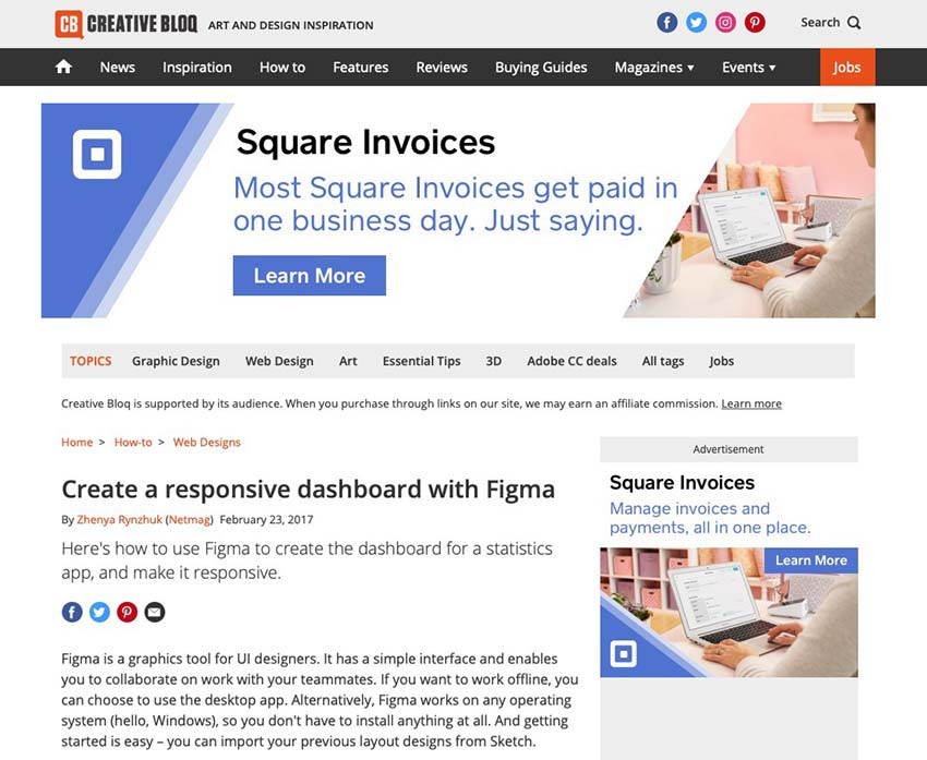 Example from Creative Bloq: Create a Responsive Dashboard with Figma