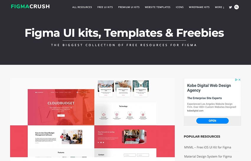 Example from FigmaCrush - Figma UI Kits, Templates & Freebies