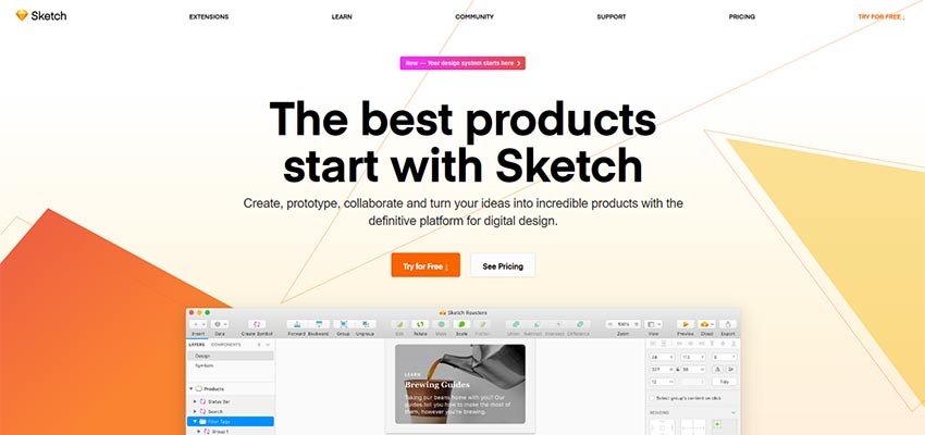The Sketch home page.