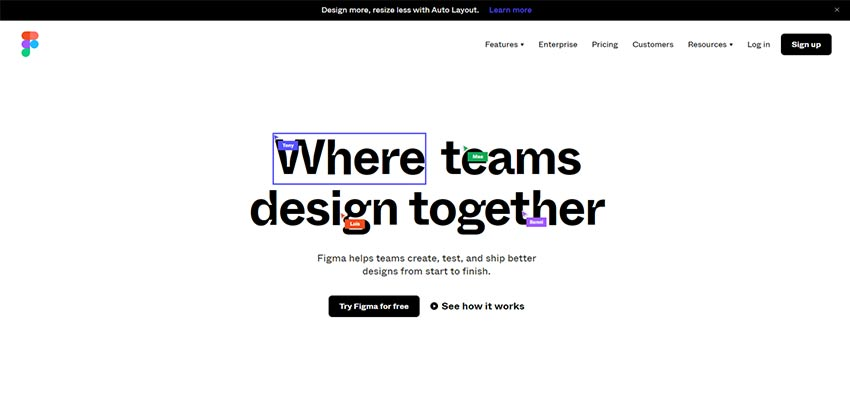 The Figma home page.